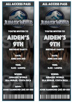 Jurassic World Invitations color by EventfulThinkingCA on Etsy