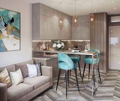 Modern Home Decor Kitchen Small Apartment Interior, Small Apartment Design, Small Apartment Living, Living Room Kitchen, Home Decor Kitchen, Home Kitchens, Modern Kitchen Design, Interior Design Kitchen, Küchen Design