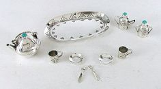 Authentic Native American Sterling Silver and Turquioise Miniature Tea Set by Navajo Elizabeth Whitman