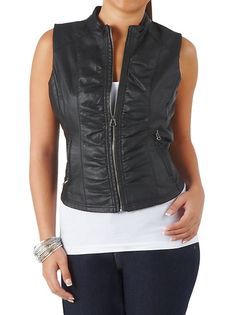 PU SIDE ROUCHED ZIP VEST: Dots.com