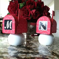 Valentine day mailboxes (already personalized for the residents at my house)