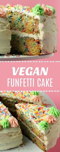 Colorful and festive vegan funfetti cake! This gorgeous, light and fluffy, moist. Colorful and festive vegan funfetti cake! This gorgeous, light and fluffy, moist and vanilla flavored cake wi Healthy Vegan Dessert, Cake Vegan, Vegan Dessert Recipes, Vegan Treats, Vegan Foods, Cake Recipes, Vegan Funfetti Cake Recipe, Vegan Vanilla Cake, Vegan Baking Recipes