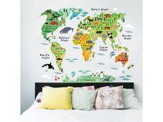 """Samolepka na stenu """"Farebná Mapa Sveta 2"""" 95x73 cm. Detská samolepka na stenu """"Farebná mapa sveta 2"""", ktorá zútulní a rozjasní detskú izbičku. Vaše deti hravou formou spoznajú kontinenty a zvieratká, ktoré na nich žijú. Samolepka sa jednoducho lepí bez potreby dodatočného lepidla, výborne drží na..."""