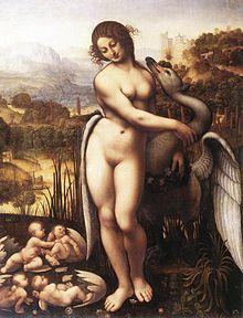 Leda e o Cisne, cópia de Cesare da Sesto, pupilo de Leonardo, baseado no original perdido.