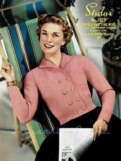 Sweetie-  1950s fitted shortie cardigan, 32-34-36-38 in bust - Vintage Knitting Pattern PDF (514)