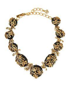 Y2MFN Oscar de la Renta Resin Filigree Collar Necklace, Black