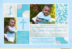 Baptism birthday invitation blue cream double holy photos christening blue photo 1st birthday photo card two wonderful events stopboris Images