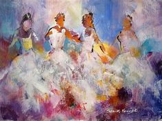 Flamenco 50 - Four Flamenco Dancers - Gallery of Dancing Pictures by Woking Surrey Artist Sera Knight