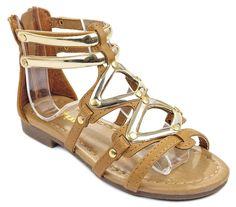 c24089e0692b20 Link Kids Kesha58 Gladiator Roman Golden Strap Comfort Flat Sandal Shoes     Special product just
