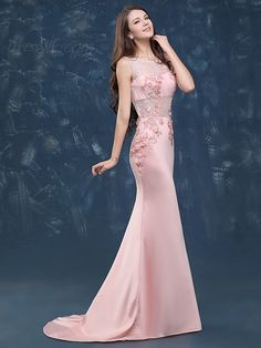 Pretty Pink Scoop Neckline Lace Applique Mermaid Evening Party Dress With Train 12397283 - Party Evening Dresses - Dresswe.Com