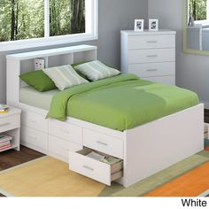 Highlighting a simple and contemporary design, the Captain's Storage Bed Set is ideal for any kid's bedroom. This set includes a full-size bed with 12 storage drawers and a convenient bookcase headboard.