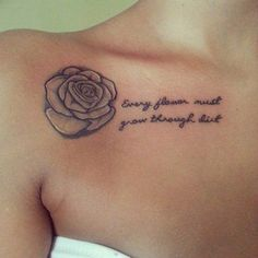 beautiful rose flower collarbone tattoo quotes - 35 Cute Clavicle Tattoos for Women  <3 <3