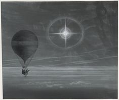 Lunar halo and luminescent cross observed during the balloon Zénith's long distance flight from Paris to Arcachon in March, 1875 - Possibly drawn by Albert Tissandier