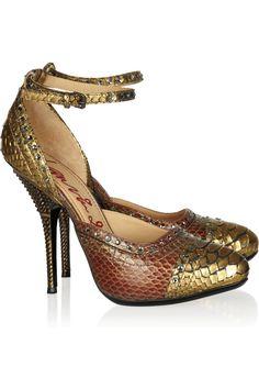 Love this color tone - Lanvin|Crystal-embellished python pumps