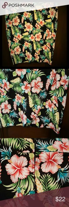 Sarong style pencil skirt Amazing Hawaiian floral print skirt with zipper in back! See my other listings for the matching top! Retro Chic Skirts Pencil