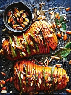 This delicious honey and almond hasselback pumpkin is a modern twist on a classic that won't tie up your oven for too long.