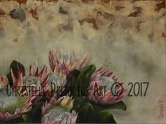 Artist: Christelle Pretorius. Beautiful composition of South African Proteas. Oil on Canvas. Subjected to copyright. For more information contact Christelle christelledv@live.com Oil On Canvas, Composition, My Arts, African, Live, Artist, Painting, Beautiful, Painted Canvas