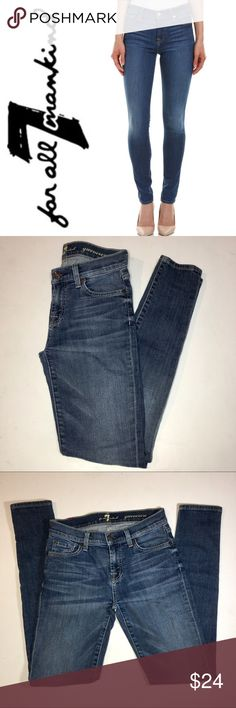 "7 For All Mankind Gwenevere Jeans ✔️Skinny Jeans ✔️98% Cotton•2% Spandex ✔️Waist Flat: 13.75"" (Fit like size 25 in my opinion) ✔️Ankle Length Inseam: 29"" ✔️Slight Fraying at Knees and Rear 7 For All Mankind Jeans Skinny"