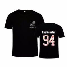 Rap Monster 94 Leader BTS Bangtan Boys Wings Album Kpop Black T-Shirt #Rap #Monster #94 #Leader #BTS #Bangtan #Boys #Wings #Album #Kpop #Black #TShirt