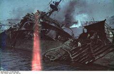 Wrecked Soviet destroyer at Sevastopol, Russia (now Ukraine), circa Jul 1942, photo 2 of 2
