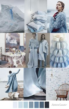 Pattern Curator Iceberg blue - colour palette and mood board. Fashion Themes, Fashion Design, Blue Colour Palette, Color Palettes, Color Collage, Minimal Fashion, Pantone Color, Color Theory, Color Inspiration