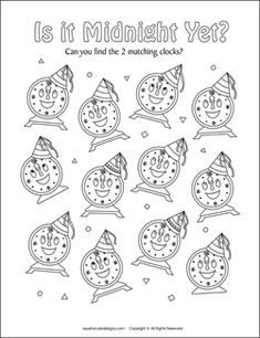 New Years Eve matching games for kids - New Years party games & puzzles - New Years activities.  We also have New Years coloring pages too!