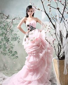 pink and black floral wedding gown