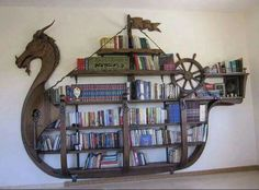 Viking ship book case