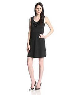 Star Vixen Womens Sleeveless Ponte Skater Dress with Statement Necklace Black Solid Medium >>> Check out this great product.