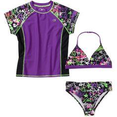 Op Girls' 3-Piece Rashguard and Bikini Set would so totally wear!
