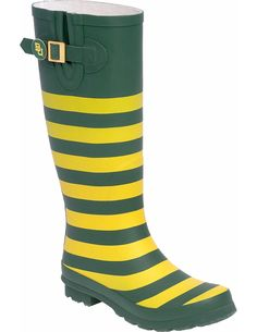 Lilly Bee green and gold striped Baylor rain boots // In love!! #SicEm