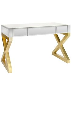 Desks Dressing Tables Contemporary Mirrored Gl Gold Leaf Desk So Beautiful One
