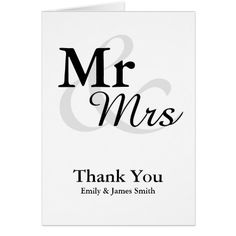 Simple Wedding Thank You Cards Mr&Mrs Simple Elegant Wedding Thank You Card