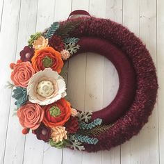Felt flower wreath felt flowers  felt wreath wreath yarn