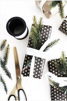 Black & white gift wrap with greenery