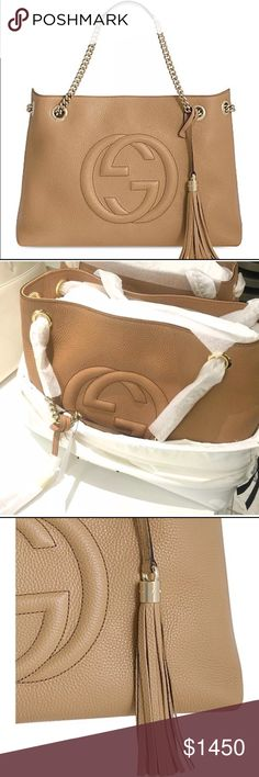 """NEW GUCCI Soho Chain Leather Strap Tote Camelia Brand new 15""""x10.5""""x5.5""""; Msrp $1950 plus tax, gold hardware, 7"""" strap drop, hook closure, inside zip pocket & two open pockets, natural cotton linen lining, made in Italy Gucci Bags Totes"""