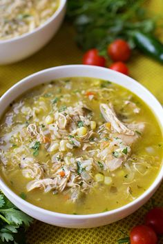 Hatch Green Chile Stew This bold & flavorful chicken and hatch chile stew is ready to go in just 1 hour! It's loaded with shredded chicken, fresh corn, rice and of course, hatch chiles! Hatch Green Chili Recipe, Green Chili Recipes, Mexican Food Recipes, Soup Recipes, Chicken Recipes, Cooking Recipes, Healthy Recipes, Hatch Chili, Cooking Chili