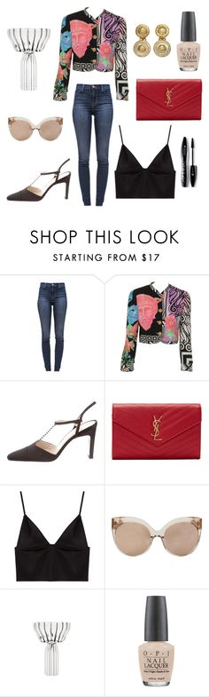 """Senza titolo #89"" by missmarella on Polyvore featuring moda, J Brand, Versace, Chanel, Yves Saint Laurent, T By Alexander Wang, Linda Farrow, fferrone design, OPI e Lancôme"