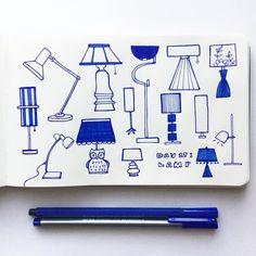Day 27: Lamps #CBDrawADay #creativebug #lisacongdon #erdenesketchbook…
