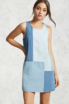 Forever 21 Contemporary – A denim shift dress featuring a patchwork design scoop neckline exposed stitching a sleeveless cut and an exposed side zipper. Fashion Sewing, Denim Fashion, Fashion Outfits, Fashion Women, Sewing Clothes, Diy Clothes, Clothes For Women, Dress Sewing Patterns, Clothing Patterns