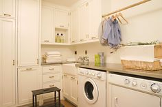 white laundry room with vertical storage, farm house sink Laundry Storage, Room Design, Laundry Mud Room, Room Shelves, Vertical Storage, Laundry, Room Storage Diy, Clothes Drying Racks, White Laundry Rooms