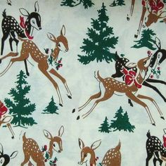 christmas wrapping paper | Vintage Christmas Reindeer Wrapping Paper | Christmas
