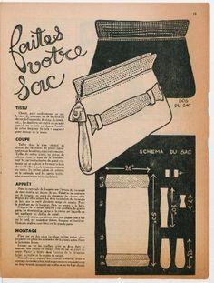 Sewing Bags Retro Free wartime vintage sewing pattern for a handbag. Motif Vintage, Vintage Textiles, Bag Pattern Free, Vintage Sewing Patterns, Vintage Purses, Vintage Bags, Love Sewing, Sewing For Beginners, Sewing Hacks