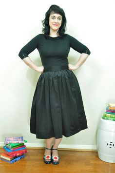 Hey, I found this really awesome Etsy listing at https://www.etsy.com/listing/224679758/black-midi-skirt-full-gathered-duchess