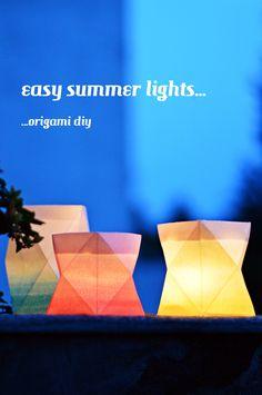 luzia pimpinella BLOG    sommerstippvisite: stylingfieber  DIY turorial  selbstgemachte origami ombré papier-windlichter   handmade origami ombré paper lanterns