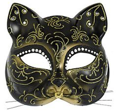 A Glitter Gold Scroll Cat Mask disguises your identity while revealing your frisky personality! This plastic cat mask features rhinestone accents and gold glitter swirl patterns. Halloween Costumes For Teens, Halloween Costume Shop, Cat Costumes, Halloween Masks, Costume Ideas, Cat Masquerade Mask, Masquerade Ball, Sexy Cat Costume, Scary Animals