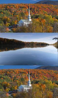 autumn, colors, travel, stowe, vermont