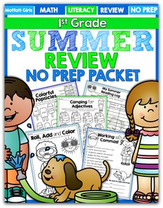 """SUMMER REVIEW Packets (NO PREP) for Kindergarten, 1st Grade and 2nd Grade! Avoid the """"Summer Slide"""" with hands-on, FUN and effective learning all SUMMER!"""