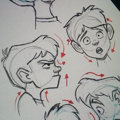 """""""2 more heads. Adding the arrows helps with the gesture. It works best for profile drawings. #art #gesture #characterdesign #illustration #drawing…"""""""