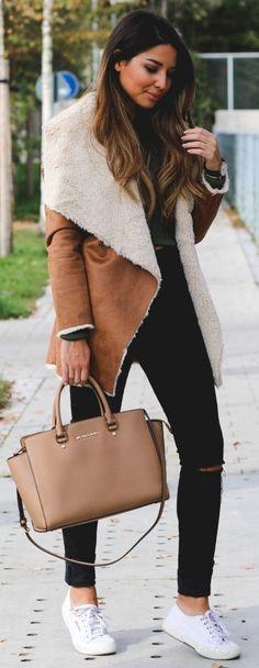 #winter #fashion / camel shearling jacket